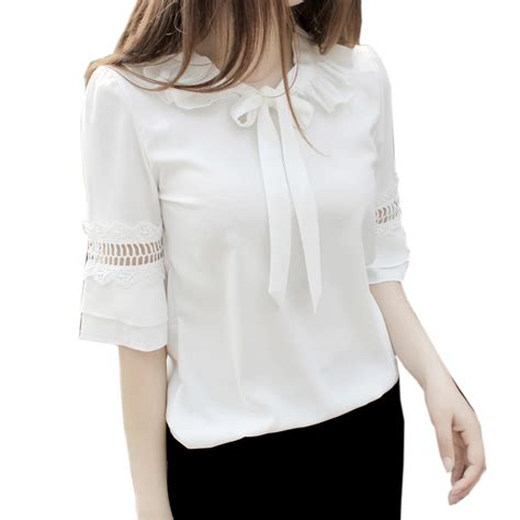 Frii Top Blouse White white chiffon blouse pan collar bow blouse shirt ruffle flare sleeve patchwork
