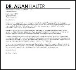 Sample Letter Appreciation Doctor physician retirement letter retirement letters livecareer