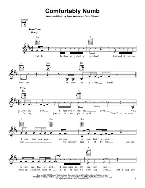 comfortably numb piano comfortably numb sheet music by pink floyd ukulele 162394