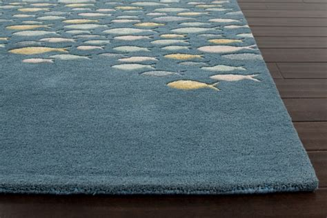 coastal living rugs plush tufted school of fish coastal living wool rug blue