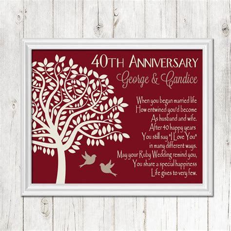 1000 ideas about 40th anniversary gifts on ruby wedding anniversary gifts