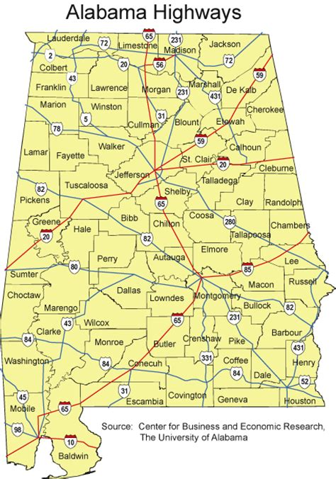 road map of alabama alabama maps source center for business and economic