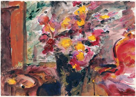 Painting In by File Lovis Corinth Flower Vase On A Table 1922