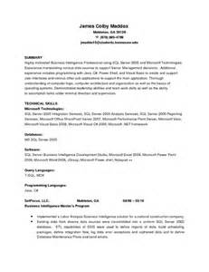 Business Intelligence Sle Resume by Colby Maddox S Business Intelligence And Software