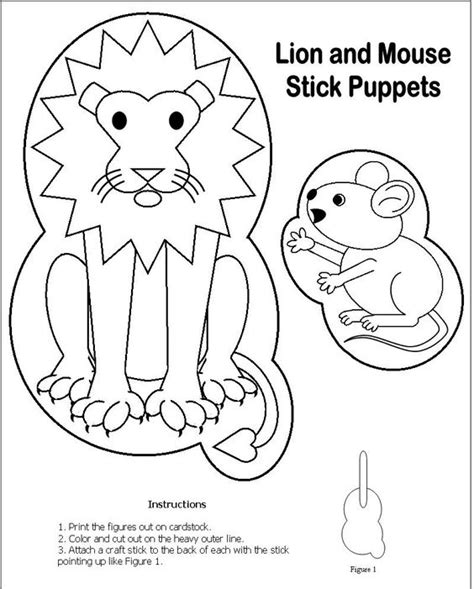printable animal stick puppets lion and mouse stick puppet fables pinterest crafts