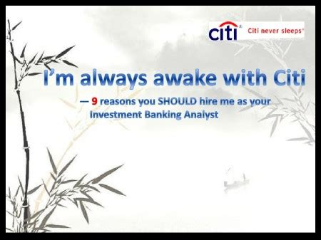 Cover PowerPoint for Investment Banking Analyst role