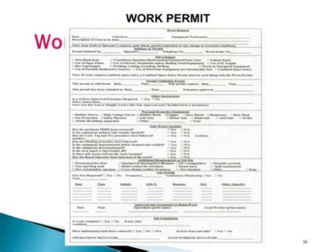 safe work permit template printable work permit forms images