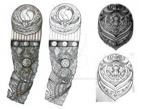 biomech and boar shield tattoo designs by thehoundofulster