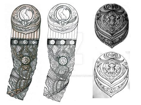 biomech and boar shield tattoo designs by thehoundofulster