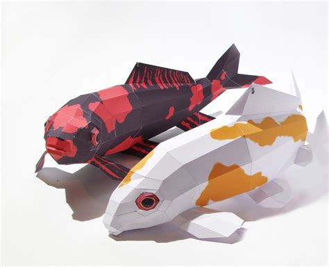 Paper Craft Fish - ebook papercraft kit quot koi hi utsuri quot carp pdf fishes