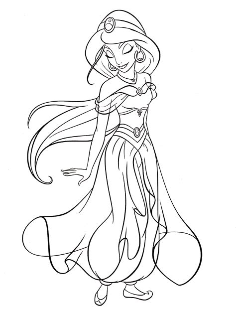 coloring pages jasmine princess walt disney characters images walt disney coloring pages