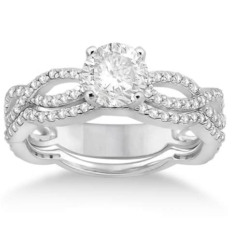 infinity engagement ring with band palladium