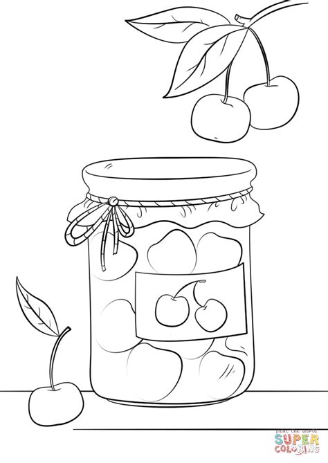Cherry Jam Jar Coloring Page Free Printable Coloring Pages Jam Coloring Pages Printables