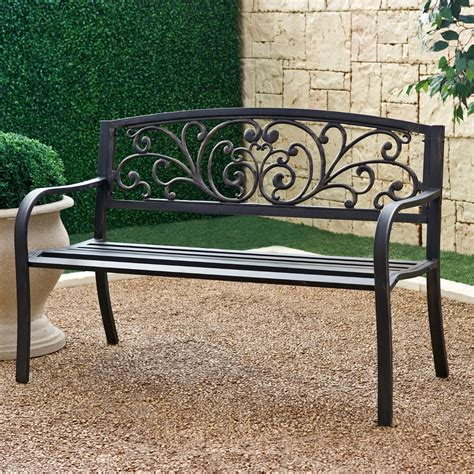 black metal bench outdoor black metal garden bench home design ideas