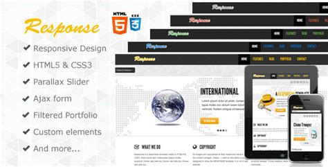 Response Responsive Html5 Template By Webdevdesigner Themeforest Themeforest Html5 Templates