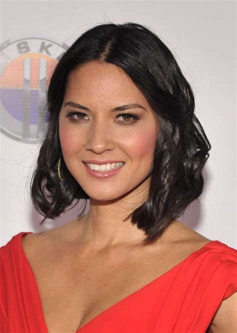 middle part black hairstyles olivia munn short center parted black bob hairstyle