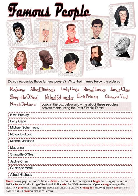 esl celebrity biographies famous people and past simple worksheet free esl