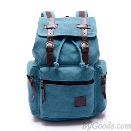 Vintage Retro Backpack Blue vintage navy blue belt decoration canvas backpack