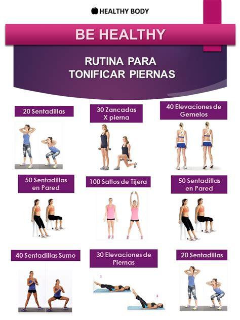 rutina de gimnasio en casa ejercicios en casa rutina be healthy para tonificar piernas para hacer