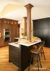 interior support beams transitional kitchen