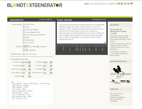 generatore di testo generare testi casuali con blind text generator