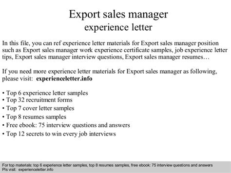 Sle Letter For Export Business Export Sales Manager Experience Letter