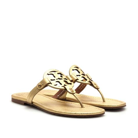 gold burch sandals burch miller leather sandals in gold lyst