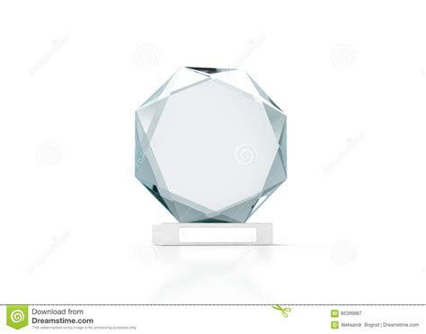Blank Round Glass Trophy Mockup 3d Rendering Stock Illustration Image 85399987 Create A Plaque Template