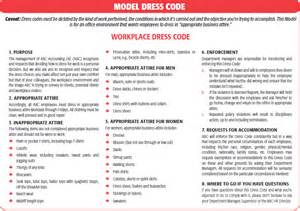workplace code of conduct template dress codes personal grooming policies how far can they