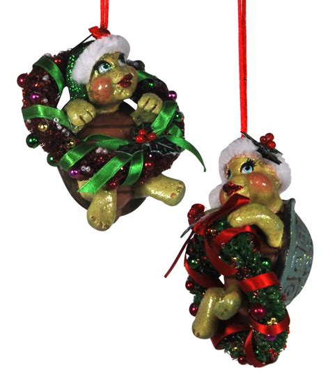 images of katherines christmas collection turtles in wreaths christmas holiday ornaments set of 2