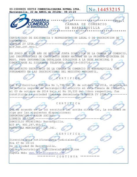 certificado cmara de comercio con vigencia mnima 15 das carta de ojo certificado de existencia y representacion legal rotwal