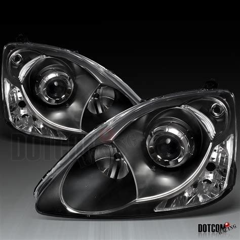 Headl Civic White Projector 2004 2005 1 2002 2005 honda civic si ep3 projector headlights black ebay