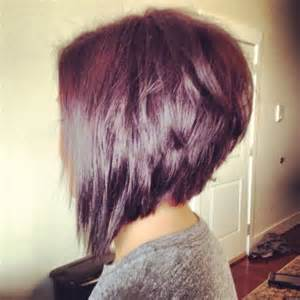 Inverted bob hairstyle back view orchid and merlot with a choppy