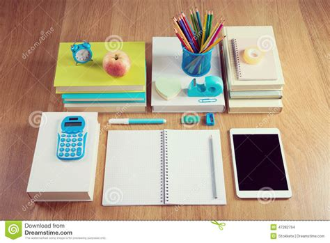 student desk top tidy student desktop stock photo image 47282794