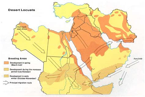middle east map deserts middle east desert locusts 1973 size