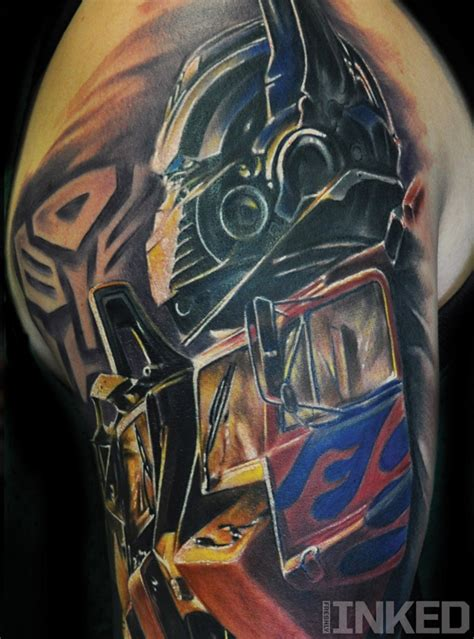 optimus prime tattoo optimus prime by chad tattoos