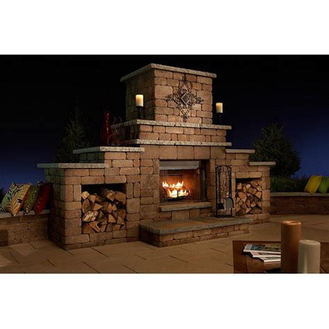 grand outdoor wood burning fireplace kit