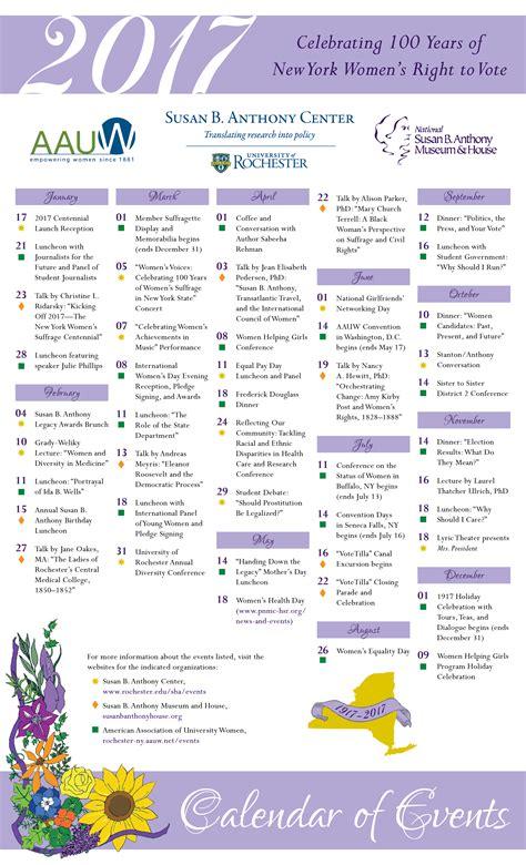 Calendar Of Events 2017 Centennial Celebration Calendar Of Events The Susan