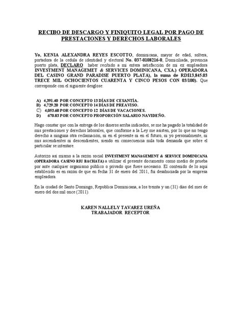 carta de finiquito recibo de descargo y finiquito legal por pago de