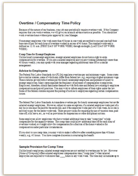 Letter Of Credit Handbook This Form Describes How Employees Are Compensated For Working Overtime