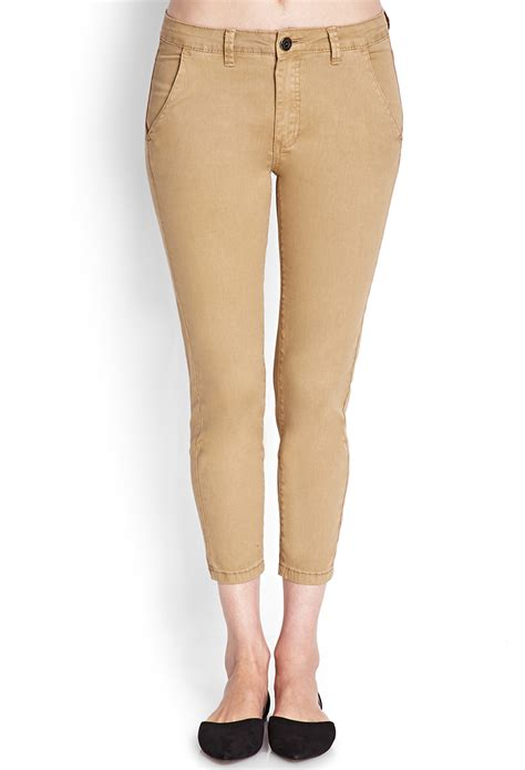 Khakis Pant forever 21 cropped cigarette in khaki lyst