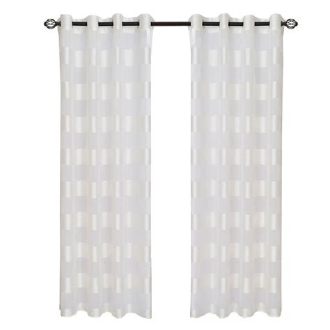 63 White Curtains Lavish Home White Sofia Grommet Curtain Panel 84 In Length 63 84t096 W The Home Depot