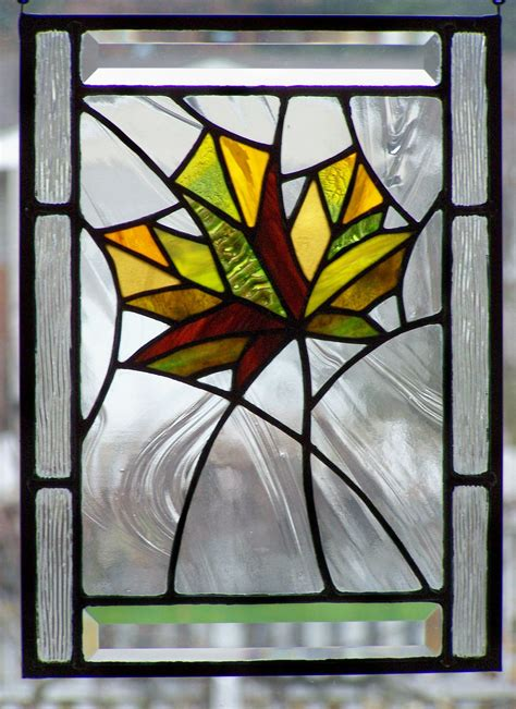 maple leaf pattern glass stained glass panel autumn maple leaf holiday fall home
