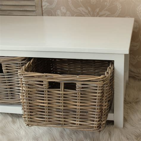 White Coffee Table With Storage Baskets White Coffee Table With Baskets Wicker Wooden Storage Lounge Living Conservatory Ebay