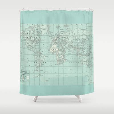 map shower curtain soft aqua map shower curtain historical map home decor