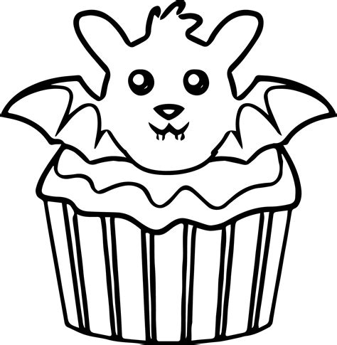 coloring pages of cakes and cupcakes halloween bat cupcake coloring page wecoloringpage