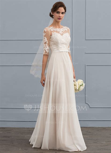 Brautkleider Chiffon by A Line Princess Scoop Neck Floor Length Chiffon Wedding