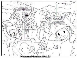 kartun gambar lomba 17 agustus gambar mewarnai hari kemerdekaan indonesia lomba panjat