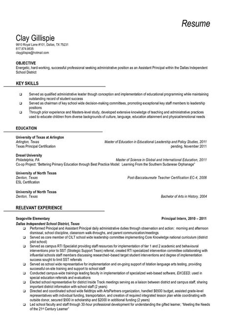 resume and vice principal vice principal resume sle