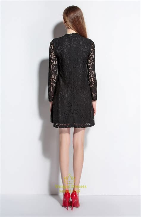 High Neck Sleeve A Line Dress black high neck a line dress with lace sleeves